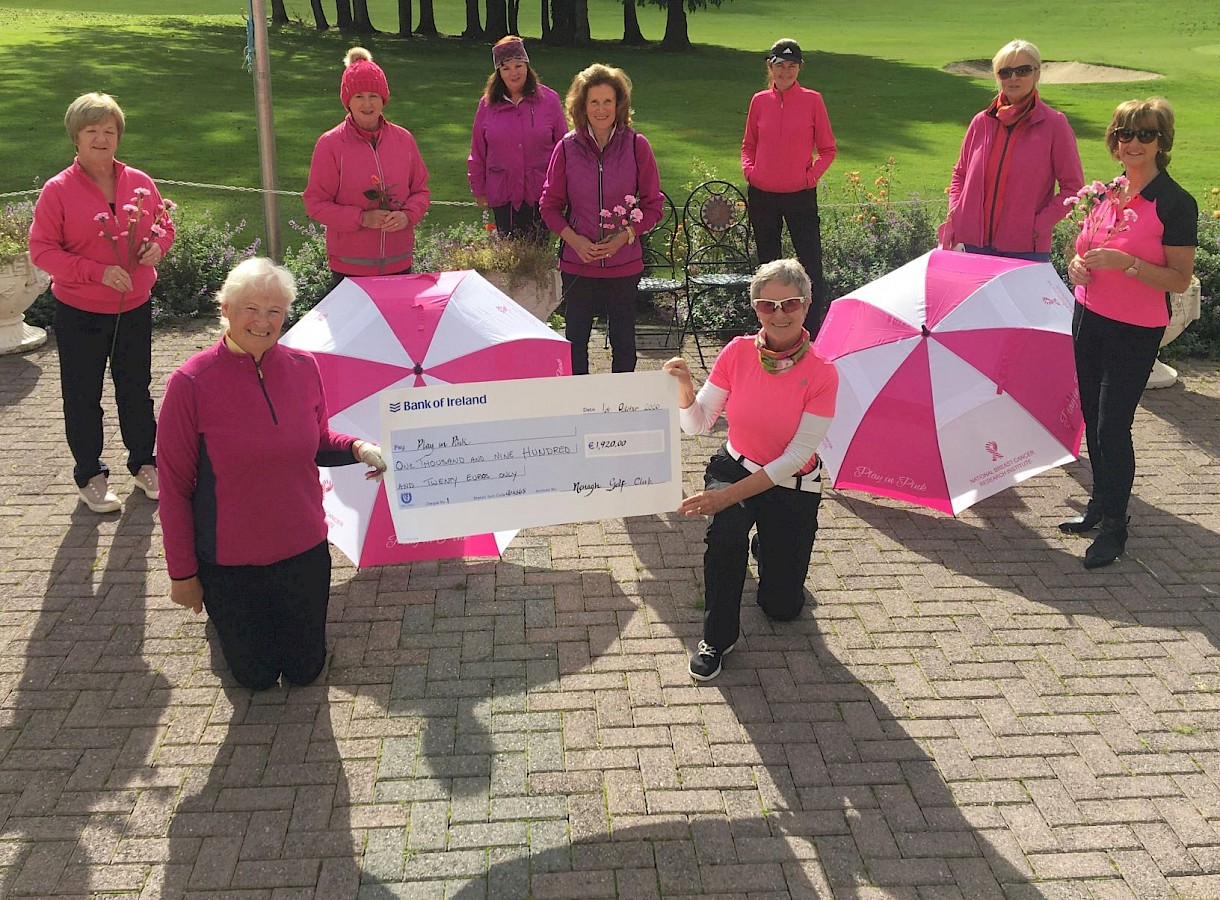 Members of Nenagh Golf Club with a cheque for €1,920 for Breast Cancer Research